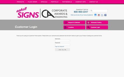 Screenshot of Login Page aahssigns.com - Aahs Signs : Customer Portal : Customer Login - captured Feb. 5, 2016