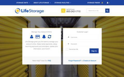 Screenshot of Login Page lifestorage.com captured May 29, 2017