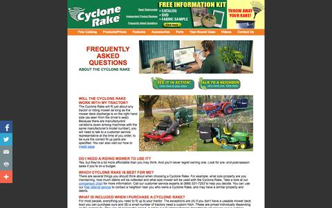 Screenshot of FAQ Page cyclonerake.com - Five Cyclone Rake lawn vacuum machines to choose from. The engine-driven Cyclone Rake lawn vacuum is a landscaping and lawn care trailer that hitches to a riding mower or lawn tractor and turns it into a powerful outdoor cleanup machine - captured Oct. 26, 2014
