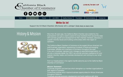 Screenshot of About Page calbcc.org - CA Black Chamber of Commerce | Dedicated to Economic Empowerment | About Us - captured Oct. 16, 2016
