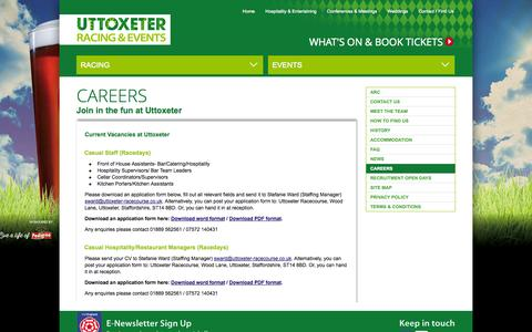 Screenshot of Jobs Page uttoxeter-racecourse.co.uk - Careers | Uttoxeter Racecourse Racing & Events - captured Oct. 7, 2014