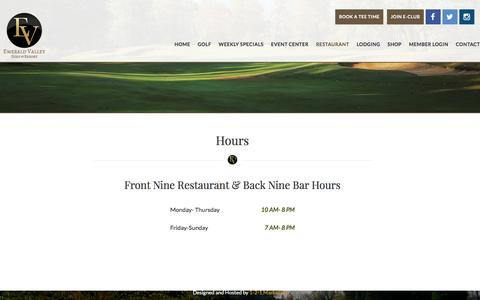 Screenshot of Hours Page emeraldvalleygolf.com - Hours - captured June 19, 2016