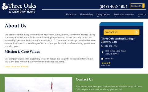Screenshot of About Page spectrumretirement.com - About Three Oaks Assisted Living & Memory Care - captured Jan. 23, 2017