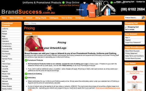 Screenshot of Pricing Page brandsuccess.com.au - Brand Success Uniforms & Promotional Products  - Adding your Logo Pricing - captured Sept. 30, 2014