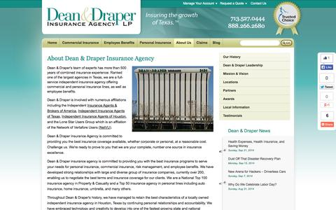 Screenshot of About Page deandraper.com - About | Dean and Draper Insurance Texas - captured Sept. 23, 2014