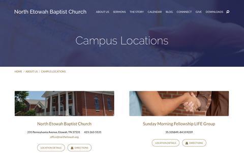 Screenshot of Locations Page northetowah.org - Campus Locations – North Etowah Baptist Church - captured Nov. 30, 2016