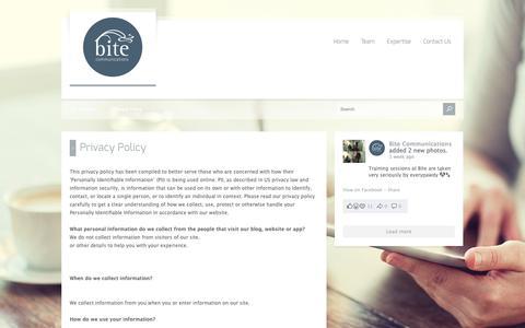 Screenshot of Privacy Page bitecom.com.au - Privacy Policy - Bite Communications - captured Oct. 6, 2018