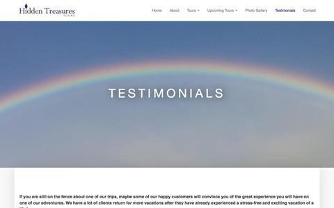 Screenshot of Testimonials Page hiddentreasurestours.com - Testimonials - Hidden Treasures Tours - captured Dec. 10, 2015