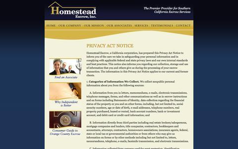 Screenshot of Privacy Page homesteadescrow.com - Contact Us - South Orange County Escrow Company | Homestead Escrow - captured Nov. 11, 2016