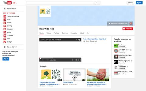 Screenshot of YouTube Page youtube.com - Más Vida Red  - YouTube - captured Oct. 29, 2014