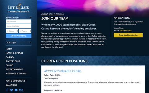 Screenshot of Jobs Page little-creek.com - Little Creek Casino Jobs & Careers - captured Jan. 30, 2016