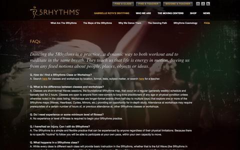 Screenshot of FAQ Page 5rhythms.com - 5Rhythms | FAQs - captured Oct. 27, 2014