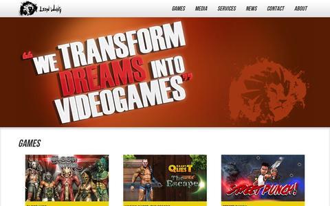 Screenshot of Home Page lionworks.com - Lion Works - Home - captured Sept. 11, 2014