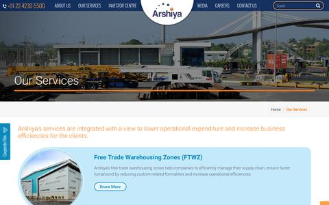 Screenshot of Services Page arshiyalimited.com - Our services |  Arshiya Limited - captured July 9, 2016