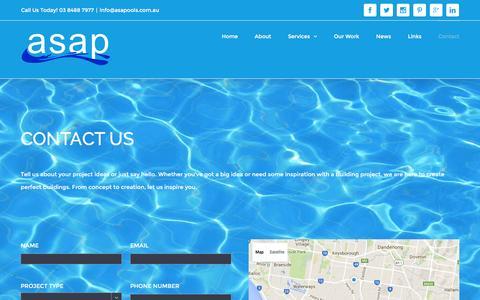 Screenshot of Contact Page australianspasandpools.com.au - Contact Us | Swimming Pool & Spa Builders – Australian Spas and Pools Melbourne - captured Dec. 27, 2015