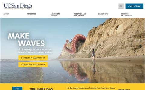 Screenshot of Home Page ucsd.edu - University of California, San Diego - captured Jan. 29, 2017
