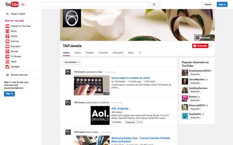 Screenshot of YouTube Page youtube.com - TAPJewels  - YouTube - captured Oct. 25, 2014