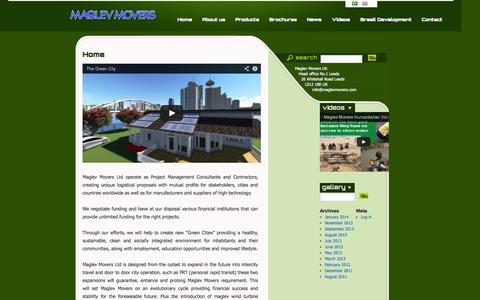 Screenshot of Home Page maglevmovers.com - Maglev Movers - captured Oct. 4, 2014