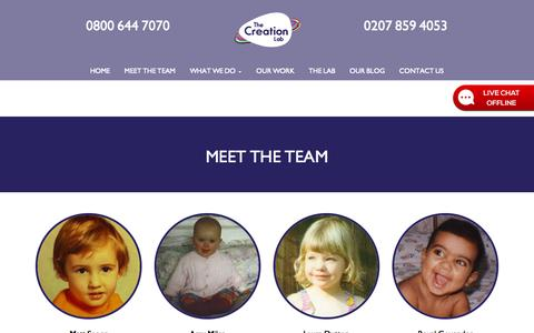 Screenshot of Team Page thecreationlab.co.uk - The Creation Lab | Meet The Team | Kent - captured Oct. 26, 2014