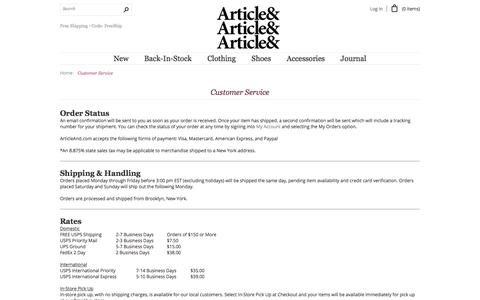 Screenshot of Privacy Page Support Page articleand.com - Customer Service - captured Nov. 27, 2016