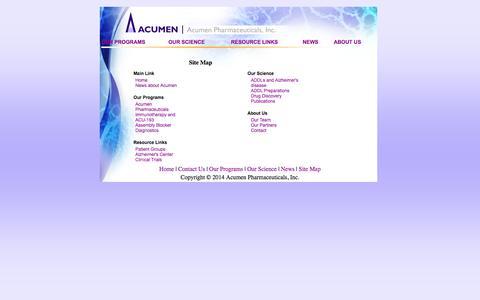 Screenshot of Site Map Page acumenpharm.com - Acumen Pharmaceuticals - captured Sept. 13, 2014