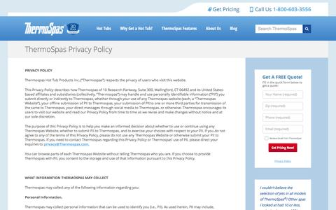 Screenshot of Privacy Page thermospas.com - Privacy Policy   ThermoSpas Hot Tubs - captured Jan. 21, 2016
