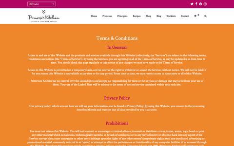 Screenshot of Terms Page primroseskitchen.com - Terms & Conditions   Primrose's Kitchen - captured Nov. 5, 2018