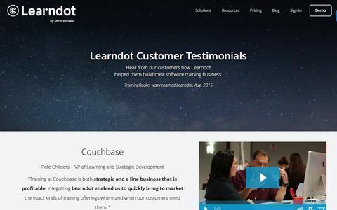 Screenshot of Testimonials Page learndot.com - Testimonials | Learndot Customer Education LMS - captured Dec. 5, 2016