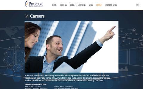 Screenshot of Jobs Page procorllc.com - Careers - captured Nov. 13, 2016
