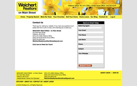 Screenshot of Contact Page weichertrealtorsonmainstreet.com - WEICHERT, REALTORS® - on Main Street - captured Dec. 17, 2016
