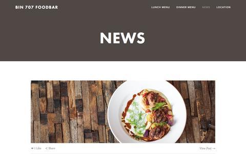 Screenshot of Press Page bin707.com - News — Bin 707 Foodbar - captured Nov. 22, 2016