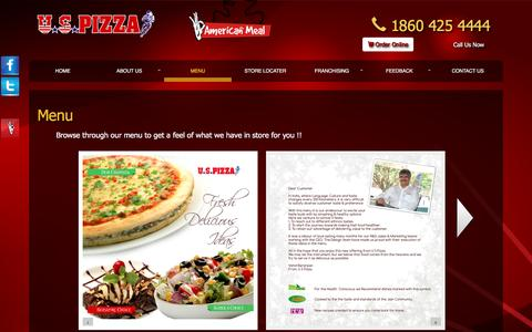 Screenshot of Menu Page uspizza.in - Our Menu :: U S Pizza - captured Dec. 22, 2015