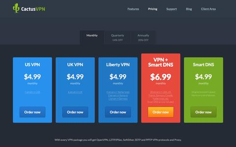 Screenshot of Pricing Page cactusvpn.com - Buy VPN and Smart DNS. CactusVPN services pricing. - captured May 13, 2017