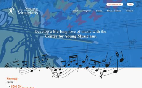 Screenshot of Site Map Page youngmusicians.org - Sitemap | The Center for Young Musicians - captured Sept. 27, 2018
