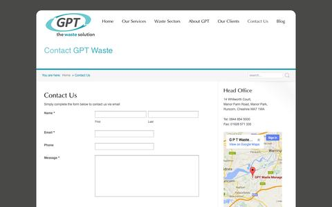 Screenshot of Contact Page gptwaste.com - Contact GPT Waste Management for the complete waste solution | GPT Waste - captured Oct. 1, 2014