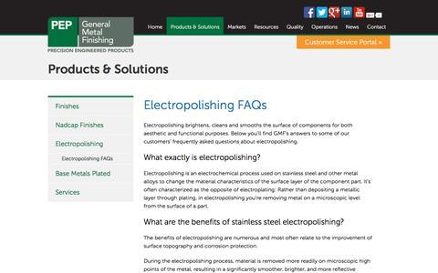 Screenshot of FAQ Page pepgenmetal.com - Electropolishing FAQs | PEP General Metal Finishing - captured Jan. 27, 2016