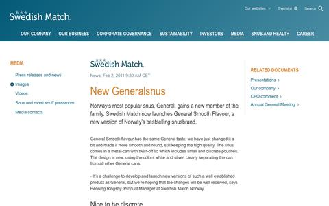 Screenshot of Press Page swedishmatch.com - Swedish Match - New Generalsnus - captured Nov. 1, 2018