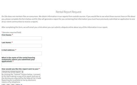Screenshot of Landing Page on-site.com - Rental Report Request | On-Site - A flexible online leasing platform for property managers and their renters. - captured Aug. 19, 2016