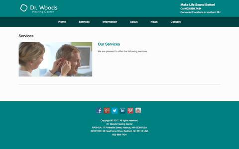 Screenshot of Services Page drwoodshearing.com - Services - Dr Woods Hearing Center - captured Oct. 13, 2017