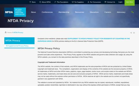 Screenshot of Privacy Page nfda.org - NFDA Privacy - captured Oct. 5, 2018