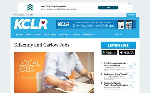 Screenshot of Jobs Page kclr96fm.com - KCLR96FM Jobs | Find Jobs In Carlow and Kilkenny - captured Sept. 20, 2018