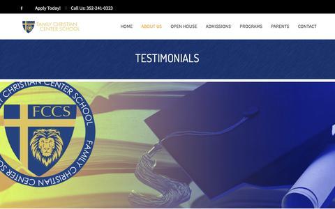 Screenshot of Testimonials Page fcclive.com - Testimonials - Family Christian Center Schools - captured Feb. 5, 2018