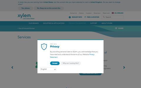 Screenshot of Services Page xylem.com - Services - Xylem Inc. | Xylem UK - captured July 15, 2018
