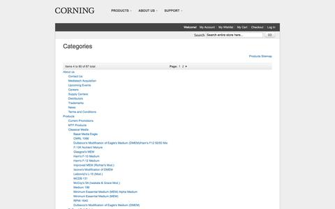 Screenshot of Site Map Page cellgro.com - Corning Cell Culture Media and Reagents - captured Nov. 2, 2014
