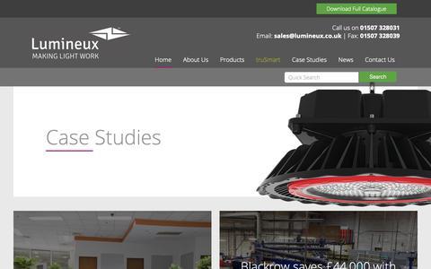 Screenshot of Case Studies Page lumineux.co.uk - LED High Bay | Industrial Lighting | Commercial Lighting - captured Sept. 30, 2018