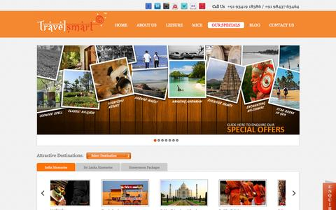 Screenshot of Home Page travel-smart.in - India Tours,India Travel,Travel In India,Luxury Tours & Travel Packages - captured Oct. 7, 2014