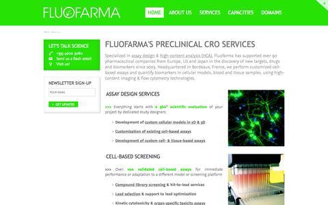 Screenshot of About Page fluofarma.com - Preclinical CRO Europe : Fluofarma, the Assay Design & HCA company - captured Sept. 30, 2014