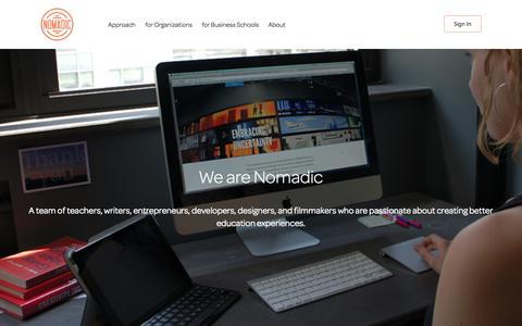 Screenshot of About Page nomadic.fm - Nomadic Learning: Online Leadership Development - captured Nov. 3, 2014