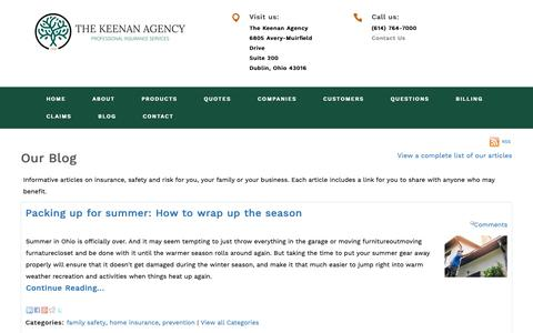 Screenshot of Blog keenanins.com - The Keenan Agency's Insurance Blog and safety articles - captured Oct. 18, 2018