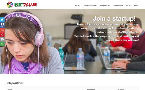 Screenshot of Jobs Page thenetvalue.com - Jobs - the net valuethe net value - captured Feb. 28, 2016